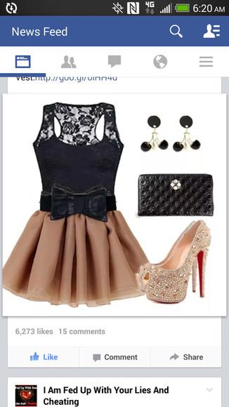 tan dress black bow little black dress