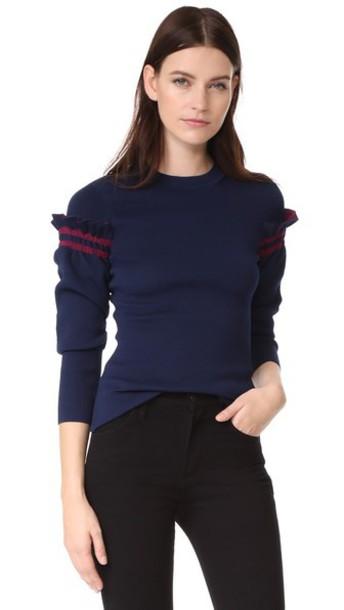 pullover ruffle navy sweater