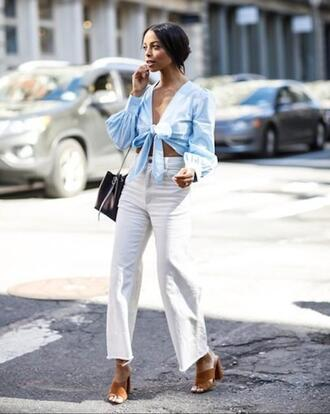 le fashion image blogger top bag jeans shoes tie-front top sandals blue top spring outfits