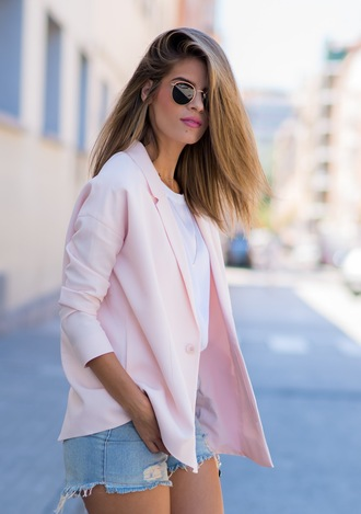 ms treinta blogger jacket shorts shoes sunglasses pink blouse blazer white top round sunglasses denim shorts