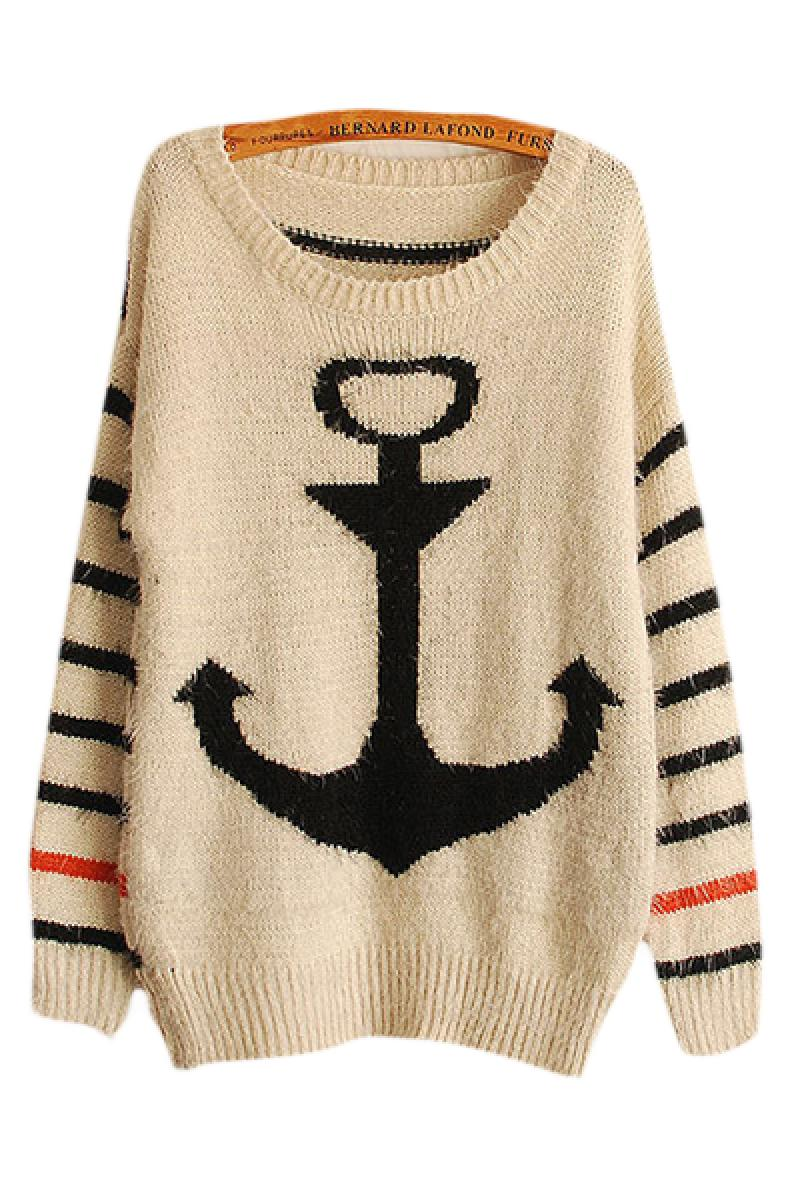 Navy Ship Anchor Pattern Striped Sweater,Cheap in Wendybox.com