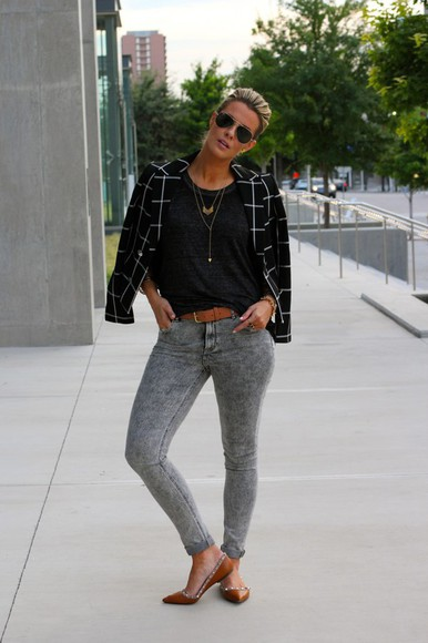 Belt jewels jacket shoes the courtney kerr jeans t-shirt sunglasses