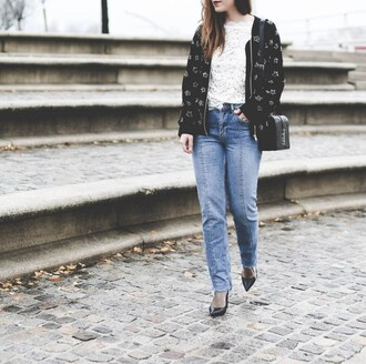 elodie in paris blogger top shoes bag bomber jacket lace top shoulder bag high heel pumps pumps