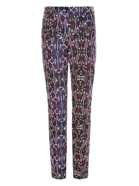 ISABEL MARANT Nella high-waisted geometric-print jeans in navy / multi