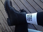 underwear,socks,quote on it,shoes,white,indie,boots,combat,funny,sunglasses,crew socks,black letters,first class bitch,black,leather boots,leggings,bitch,white socks,black writing