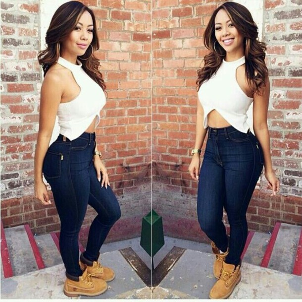 blouse jeans shoes shirt top white crop tops timberland boots as pictured