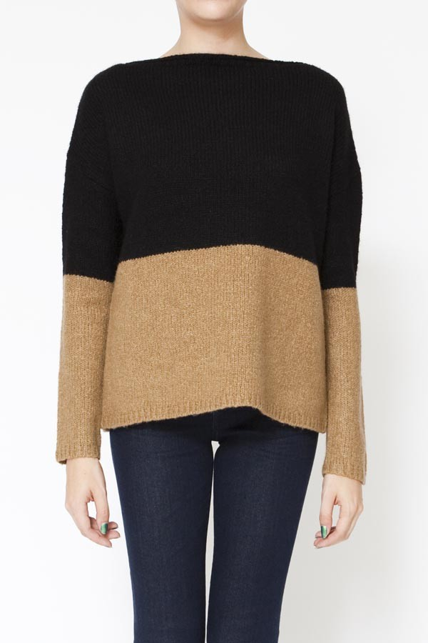 Boat neck colorblock sweater