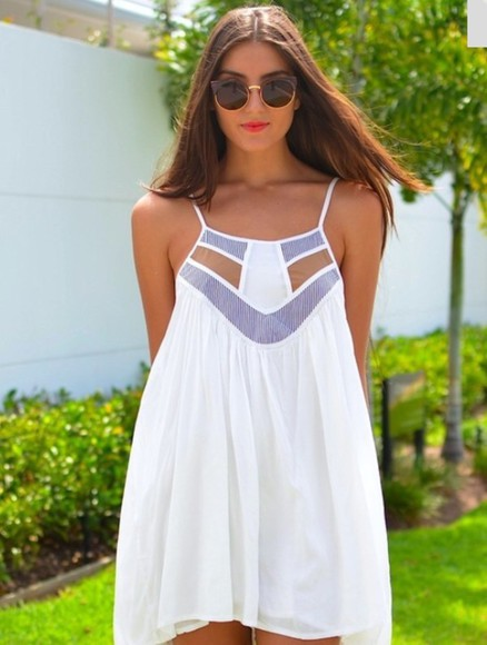 dress cute dress sundress white dress summer dress white cutout dress stripes