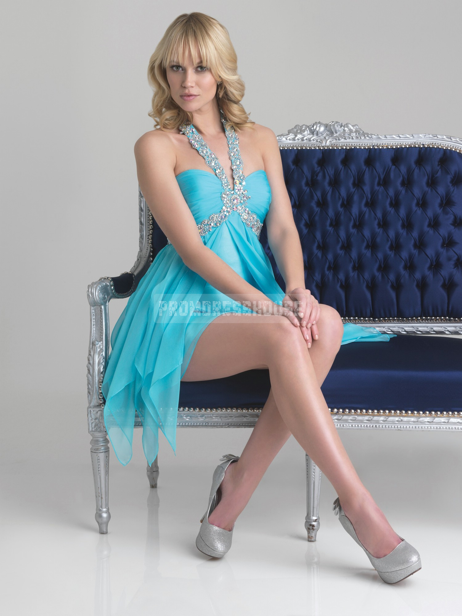 Blue Empire Ruffles Chiffon Halter Crystal Prom Dress - Promdresshouse.com