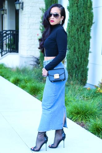 ktr style blogger bag denim skirt peep toe boots mesh turtleneck