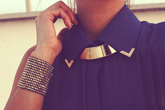 blouse black studs stud studded necklace jewels blue transparent gold v summer outfits gold shirt
