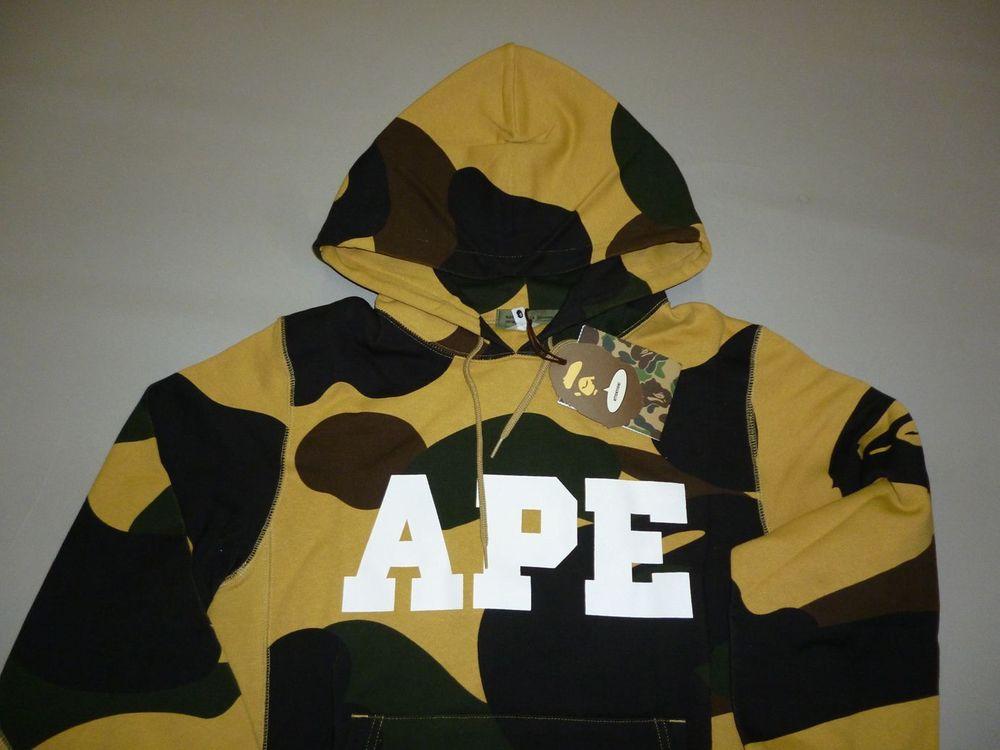 Bape Ape Logo Zoom 1st Camo Yellow Pullover Hoody M Ebay