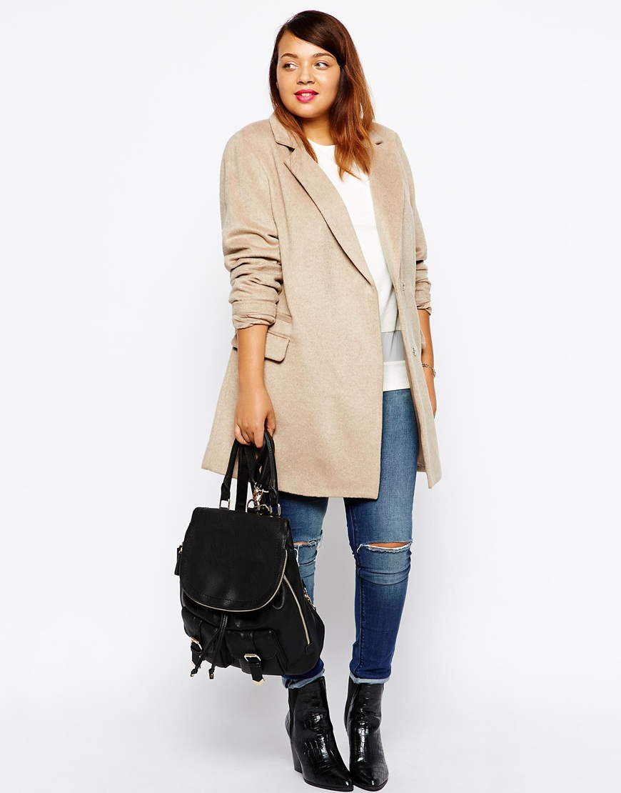 New Look Inspire Brushed Single Breasted Coat at asos.com