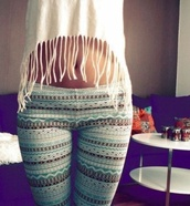 pants,aztec,leggings,t-shirt,shirt,hippie,hipster,beautiful,clothes,tights,fashion,girl,style,girly,aztec leggings,jeans,tank top,france,white,i like it,top,blue,brown,tribal pattern