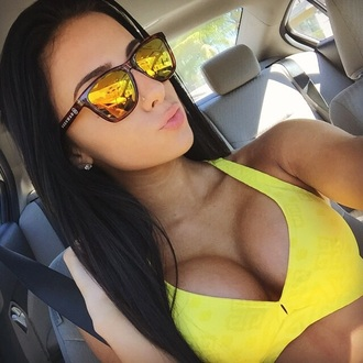 sunglasses top yellow crop tops bra sports bra