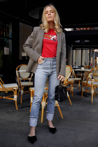 jeans tumblr blue jeans denim shoes flats black shoes blazer grey blazer check blazer t-shirt red t-shirt