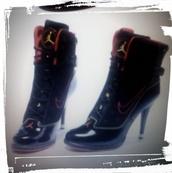 shoes,sneaker heel,sneakers,air jordan,jordans,nike,swoosh,black high heels,high heels,boots,swag,hip hop