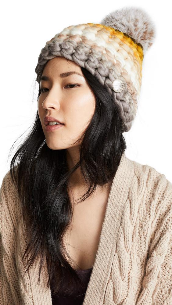 Mischa Lampert Stripe Beanie Hat in neutral / multi