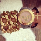 jewels,womens watch,golden chain,pink watch,chain bracelet