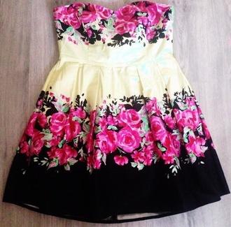 dress floral dress flowers yellow dress sweetheart dress
