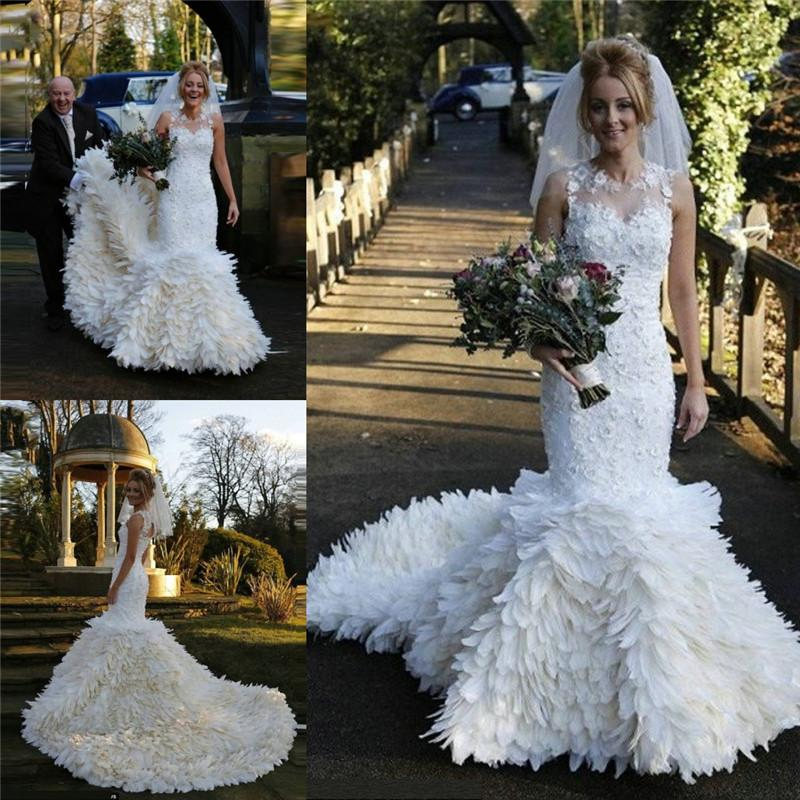 Feather 2015 lace wedding dresses mermaid style sheer for Vintage mermaid style wedding dresses