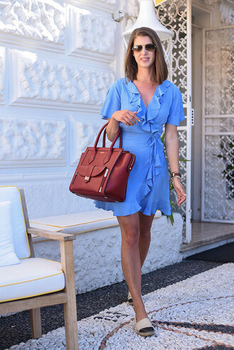 thank fifi blogger dress bag jewels blue dress wrap dress aviator sunglasses burgundy mini dress