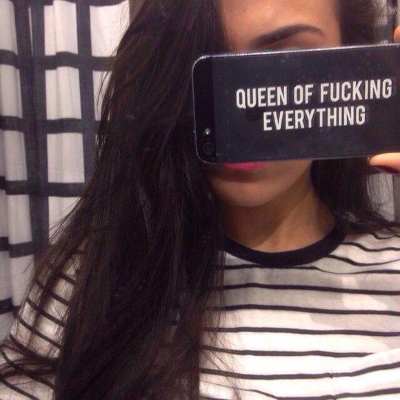 phone case queen fashion everything phone case sassy queen of fucking everything cool iphone 5 case iphone case case cases black phone case iphone 4 case black white 3 black and white eveything nail accessories