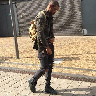 jacket maniere de voir mdv camouflage shirt ripped pockets