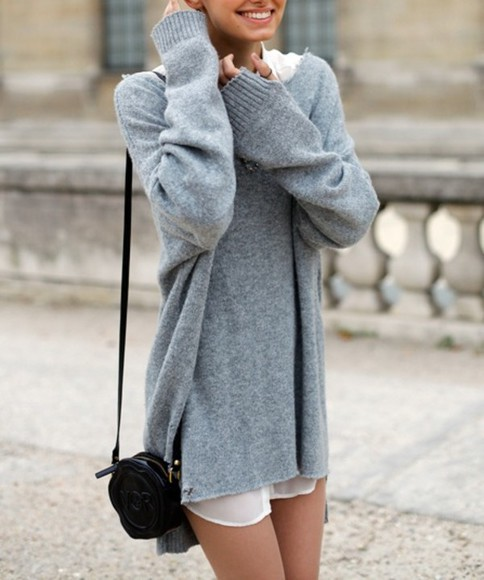 sweater grey oversized winter warm long jersey sweater dress clothes oversized sweater bag
