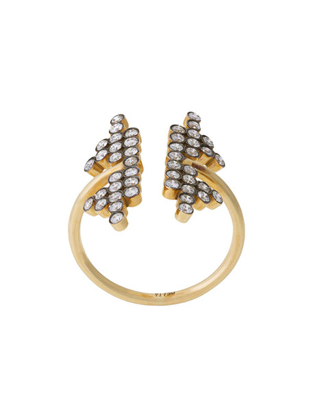 women ring gold black yellow grey metallic jewels