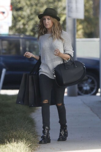 jeans ashley tisdale bag hat fall outfits shoes sweater