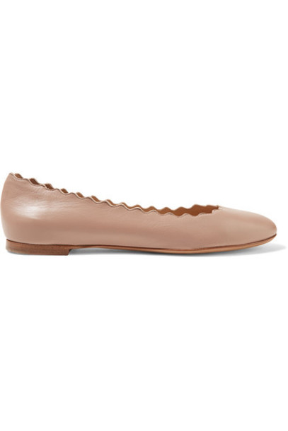 Chloe ballet scalloped flats ballet flats leather blush shoes