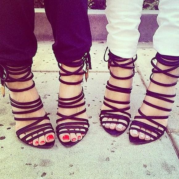high heels open toes strappy stilettos