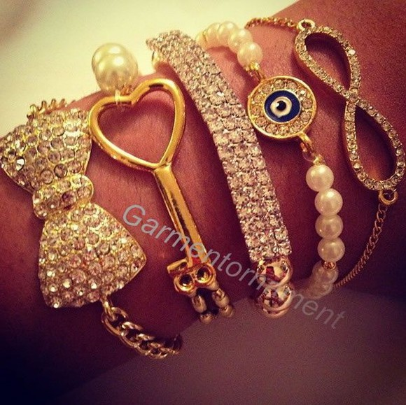 jewels bracelet gold cute peals rhinestones arm candy bracelet set