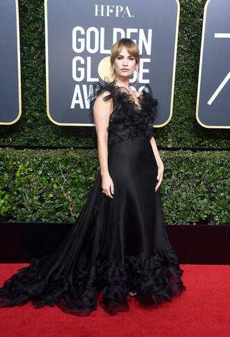 dress lily james black black dress long dress red carpet dress golden globes 2018 ruffle ruffle dress