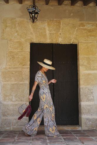 seams for a desire blogger jumpsuit hat shoes bag jewels palazzo jumpsuit