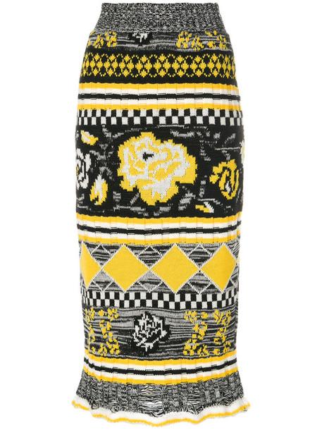MSGM skirt women black wool knit