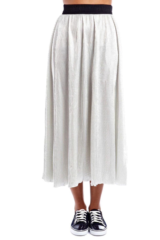 Silver metallic maxi skirt