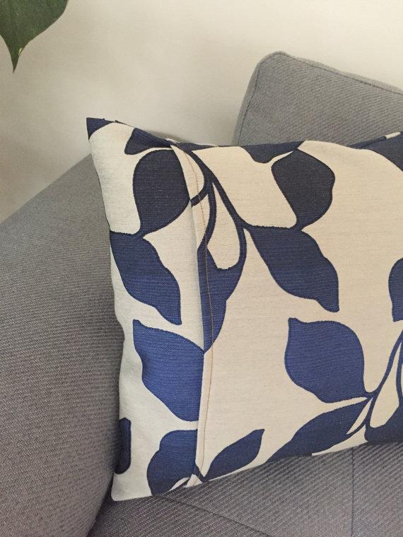 CANVAS CUSHION COVER, square cushion cover, floral cushion cover, minimal cushion, square pillow, blue cushion