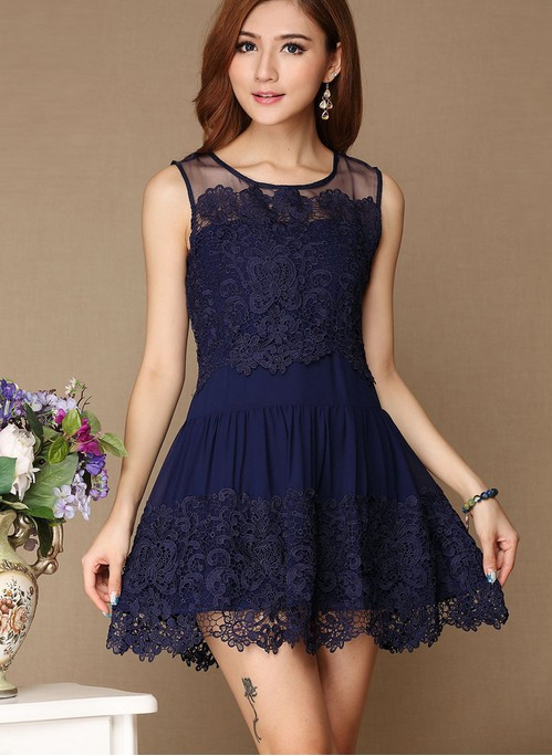 Fashion Hollow Out Hook Flower Lace Dress - Blue on Luulla