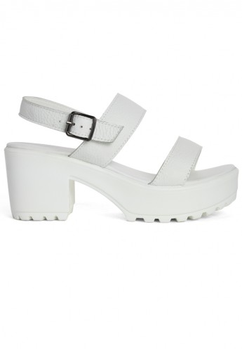 Ankel Strap Block-heel Leather Sandals in White - Retro, Indie and Unique Fashion