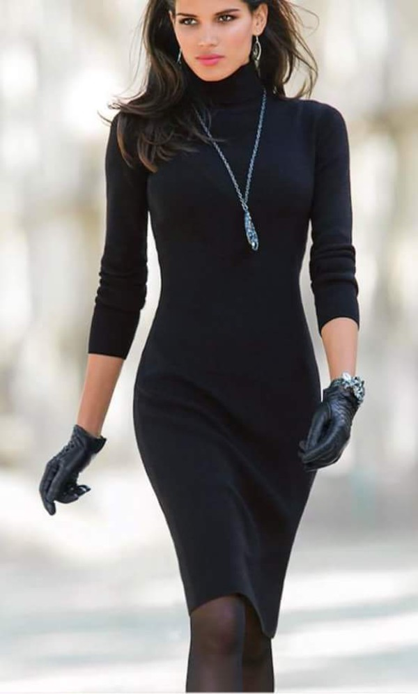 Classic Angora Slinky Turtleneck Dress