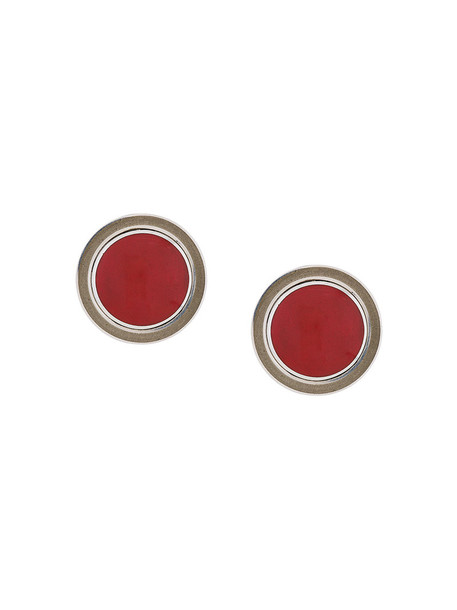 Silhouette women earrings silver red jewels