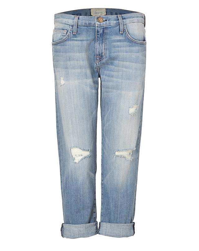 Washed Cotton Driftwood Destroy Boyfriend Jeans from CURRENT/ELLIOTT | Luxury fashion online | STYLEBOP.com