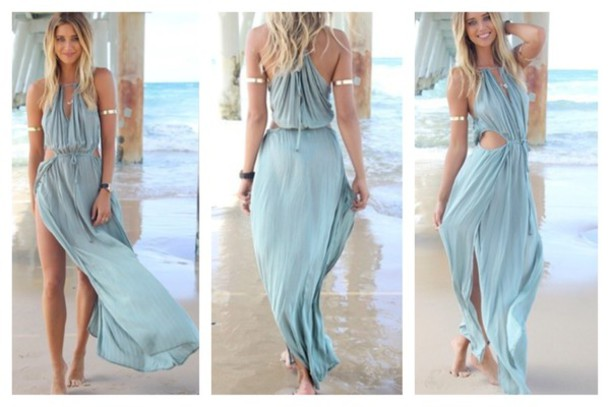 9fb533af0616 dress summer dress maxi dress long dress drawstring drawstring dress blue  dress flowy dress high split