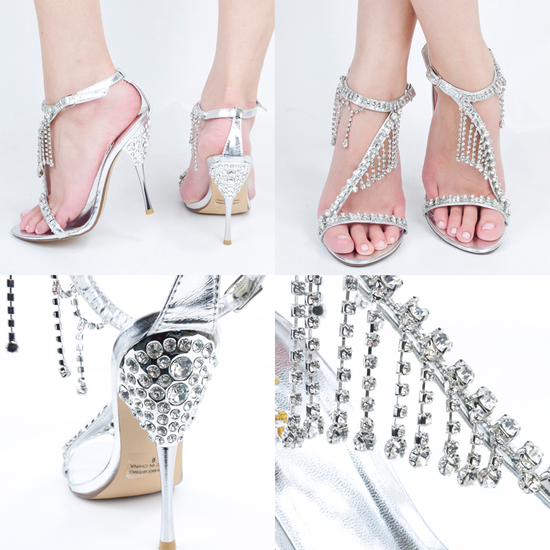 Silver Rhinestone Crystal Jeweled Open Toe High Heel Stiletto Dress Prom Sandals | eBay
