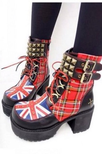 shoes boots style cool cool studs studded shoes plaid