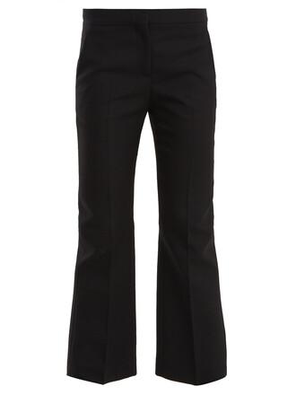 flare cropped wool black pants
