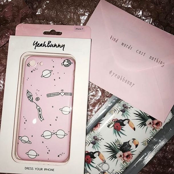 phone cover yeah bunny iphone phone cover pink pastel iphone case space moon stars galaxy print