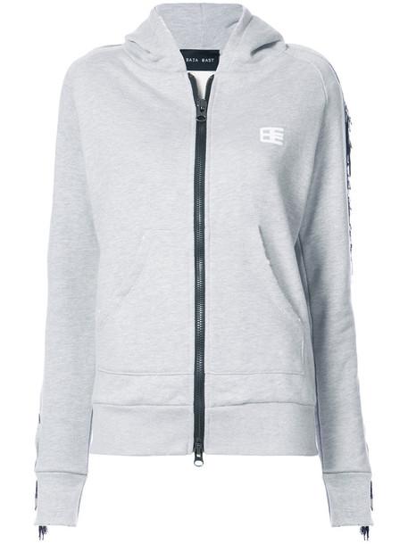Baja East hoodie zip women cotton grey sweater